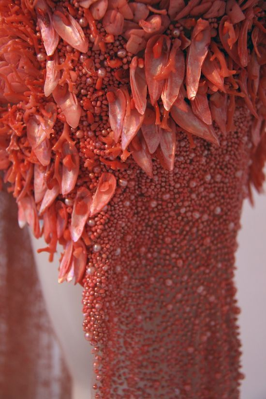 Coral , shells  & pearls . McQueen. detail on S/S 2012 dress // Sarah Burton for Alexander McQueen // Photograph by Filep Motwary