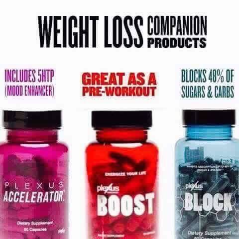 // What is your weight loss goal? //  * Accelerator+ works with Plexus Slim to increase effectiveness and includes 5HTP – a natural mood enhancer.  * Boost is a thermogenic to rev up fat loss and can increase energy and endurance. This is great for enhancing endurance/stamina during workouts. (not to be taken together with Accelerator+). Great as a pre-workout.  * Block reduces the absorption of sugars and starches up to 48% from converting to glucose.