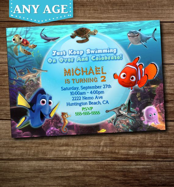 You Choose Nemo Birthday Invitation Nemo Invitation Nemo