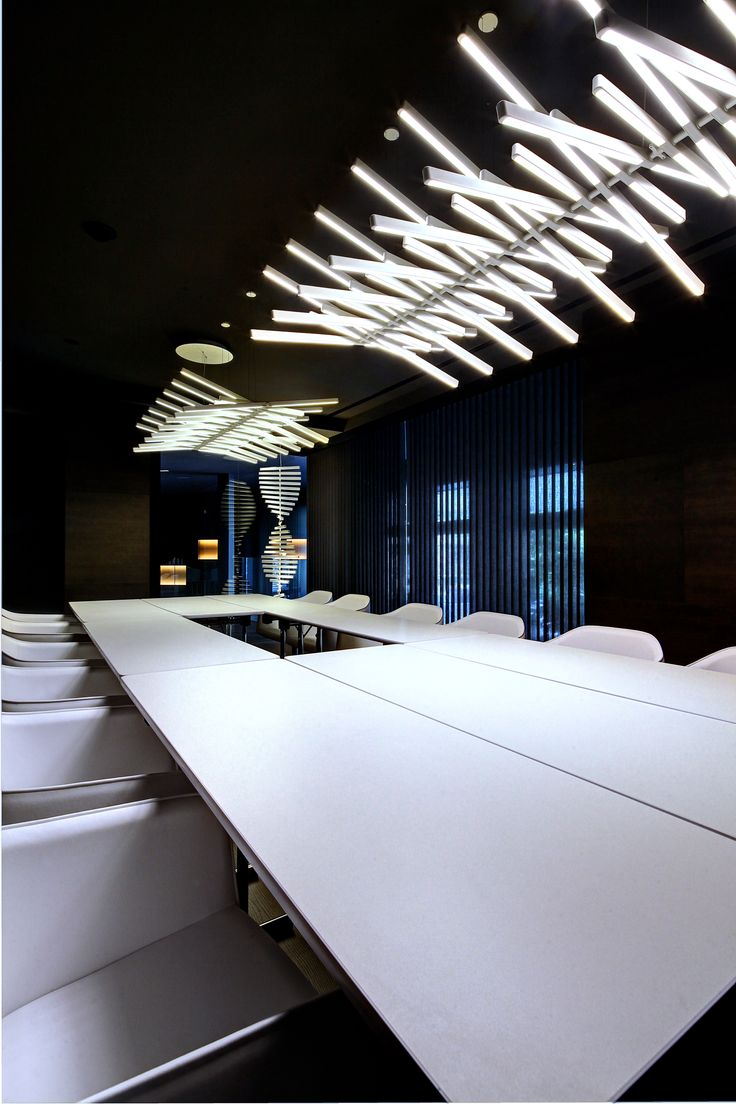 Olivia Balmes Hotel, Barcelona. The RHYTHM collection, with an adjustable LED light source, is used to provide horizontal and vertical lighting in the Hotel meeting rooms. http://www.vibia.com/en/lamps/show/id/21124/hanging_lamps_rhythm_2112_design_by_arik_levy.html