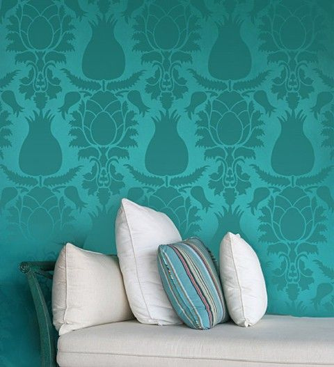 Turquoise. I'm not usually one for wallpaper, but this one is nice. Great with the white furniture.