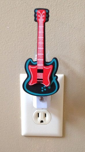 Guitar Night Light, Guitar Nursery Light, Music Night Light, Musical instrument Theme, Rock and Roll, Personalized