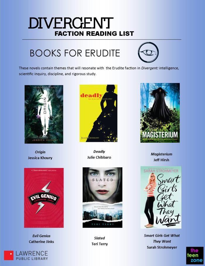 Erudite Faction Reading List for Fans of Divergent