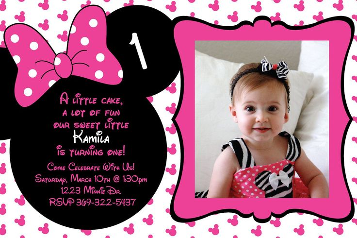 Create Minnie Mouse First Birthday Invitations | Buy this card & Get 15% off) with code STUCKONUZAZZ