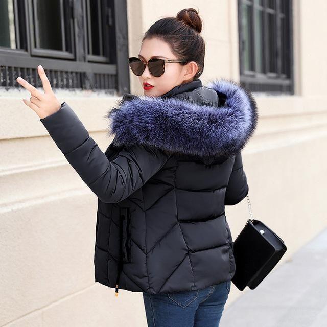 Winter Women Jacket Fur Collar Hooded New 2018 Fashion coat Plus Size Women Coat Long Sleeves Winter Coat slim Female Outwear Bl 2