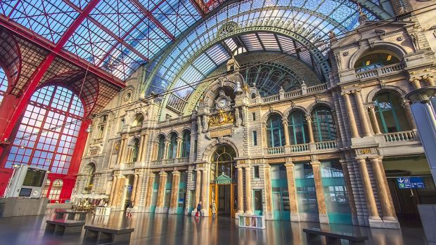 Antwerp train station is rated in the top ten most beautiful train stations in the WORLD
