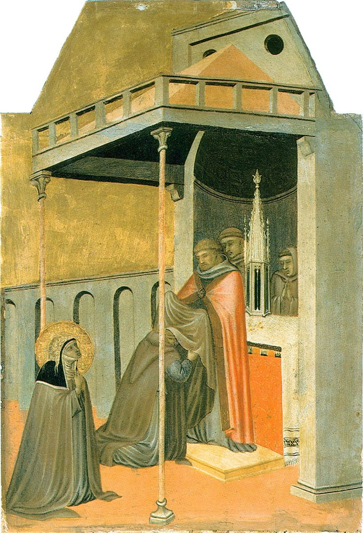 Pietro Lorenzetti (c. 1280 - 1348) Ugolotto Watched by Humilitas Gold and tempera on panel, 1316 Galleria degli Uffizi, Florence, Italy