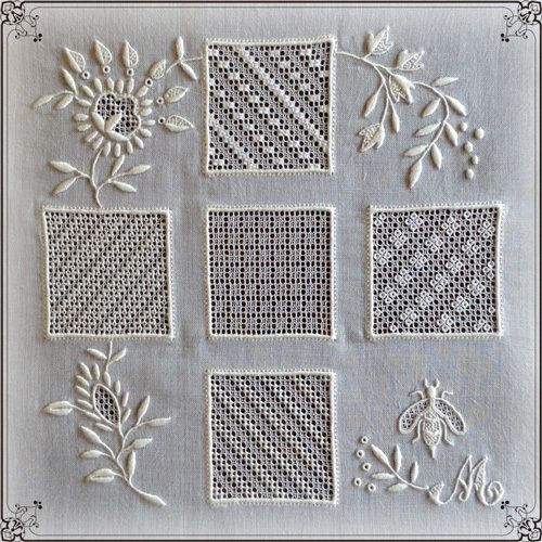 *Au point du plaisir* しあわせステッチの手しごと場, white embroidery, broderie blanche, ホワイト刺繍