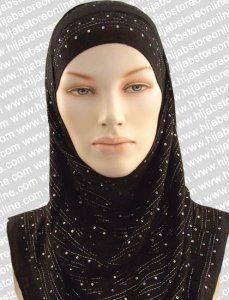 Hijab - Sequin Stripes - Black tai sama tuote värinä Hot Pink