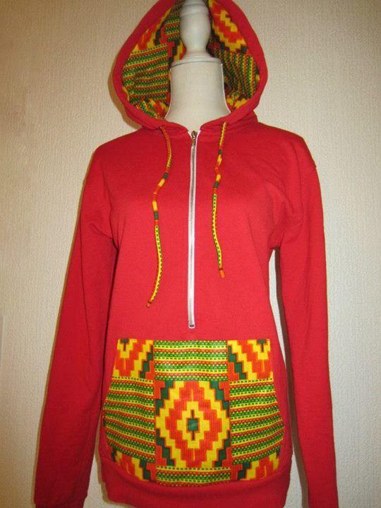 African prints sweatshirt. Sweat à capuche rouge tissu africain kente vert jaune et rouge. www.cewax.fr