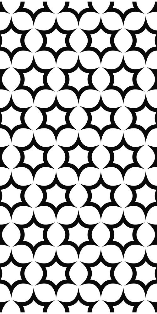 Seamless black and white hexagonal vector star pattern design