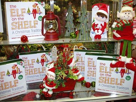 Elf on the Shelf Book set, plush elves and silk arrangement with sled and elves