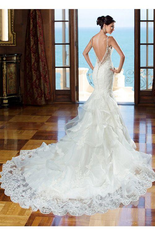 Elegant Organza Spaghetti Straps Neckline Natural Waistline Mermaid Wedding Dress With Lace Appliques
