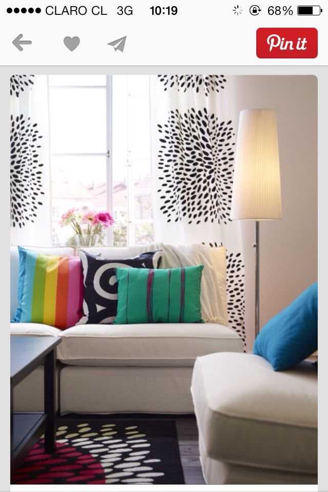 Idea de cortina tela de puntitos  Par de cortinas 1,45 x 2,20 cm  $21990  viadeco.cl