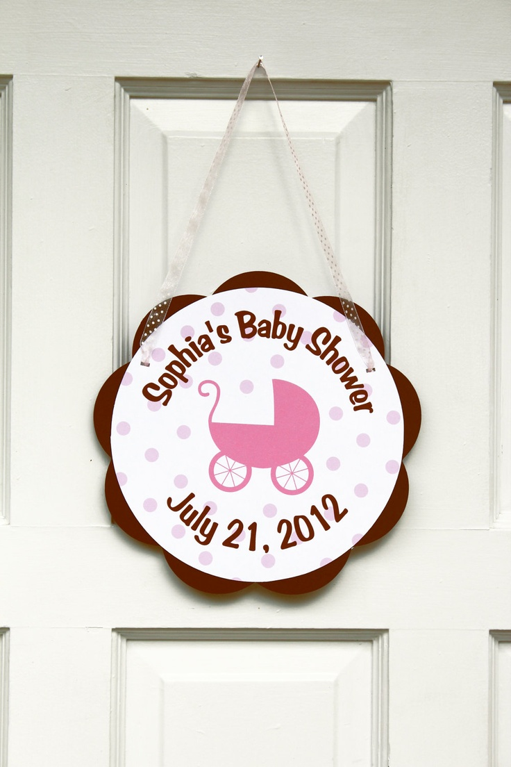 Pink and brown carriage baby shower door hanger baby for Baby shower door decoration