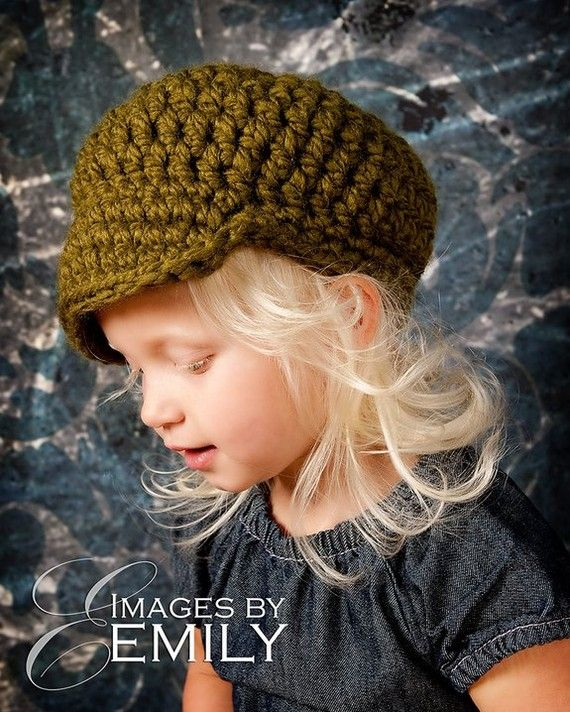 Green Newsboy Hat for Girl or Boy fits child and by TwirlyGurlz