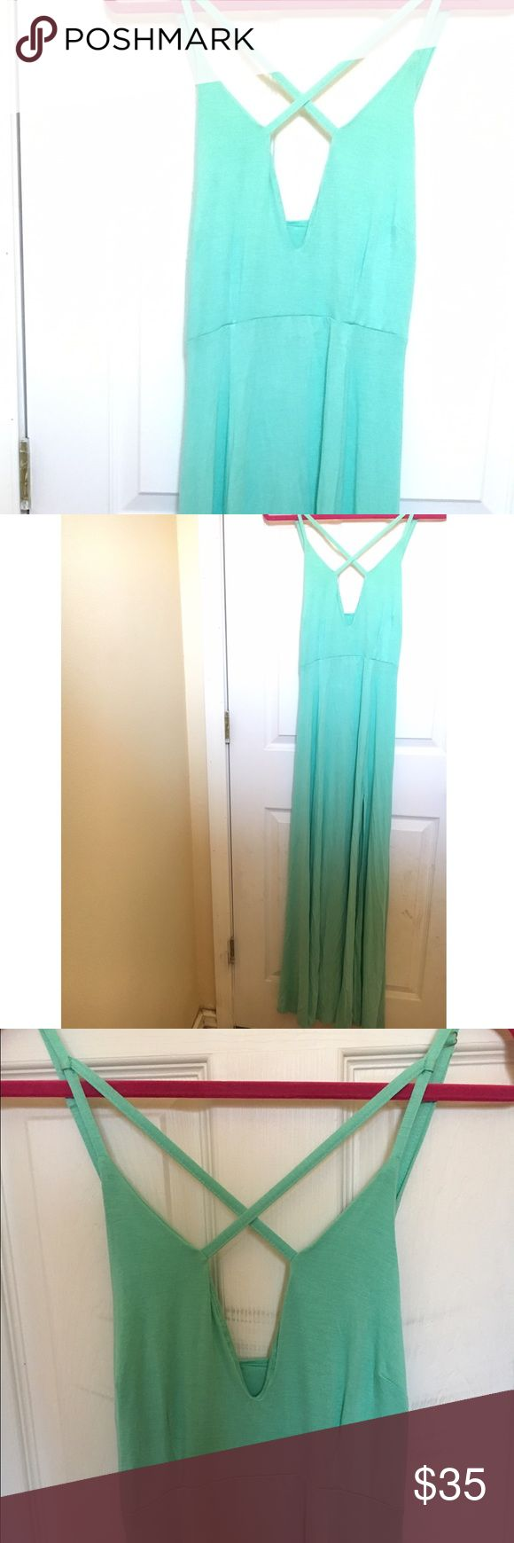 Teal maxi dress Stretchy teal dress with slit on the left side. Never worn. Dresses Maxi