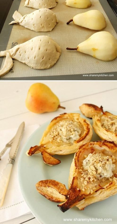 Halve, peel, and core pears, layer on puff pastry.  Bake at 350 until they're golden, pull top with a little vanilla ice cream, whipped ricotta, or filling of choice.  Pretty cute idea for a dessert