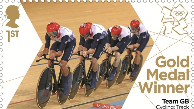 Team GB Cycling Pursuit gold stamp