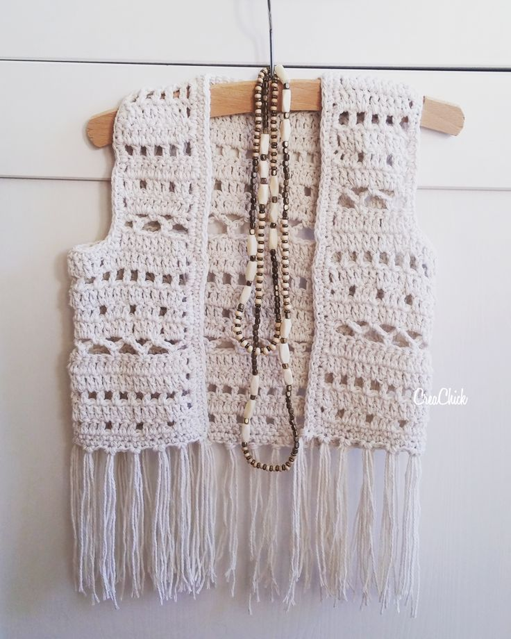 Crochet boho vest for a kid. Free pattern. Boho vest haken voor een kind. Gratis patroon. Maat 110.