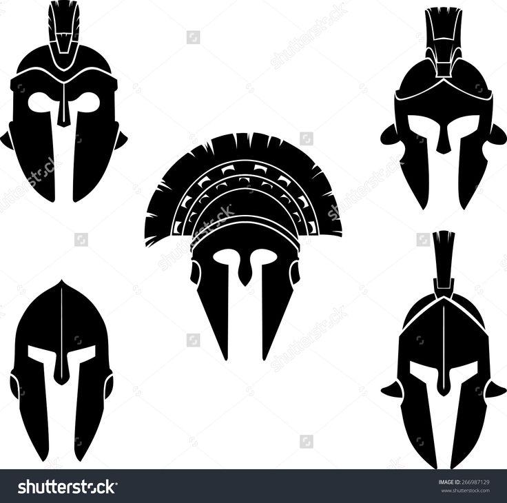 Spartan Helmet Silhouette Set Ilustración vectorial en stock 266987129 : Shutterstock