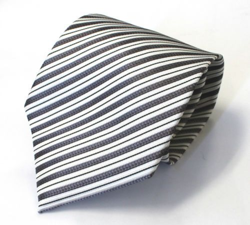 NEW Mens Fashion Jacquard Office Silk TIE Black White Grey Stripe Necktie | eBay