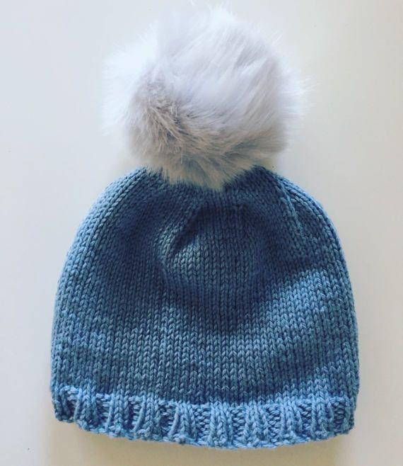 handknit baby hat pom pom hat blue hat with fur pom pom