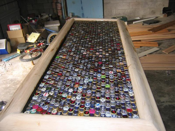 Bottle cap bar top bottle cap awesomeness pinterest for Cool bottle cap designs