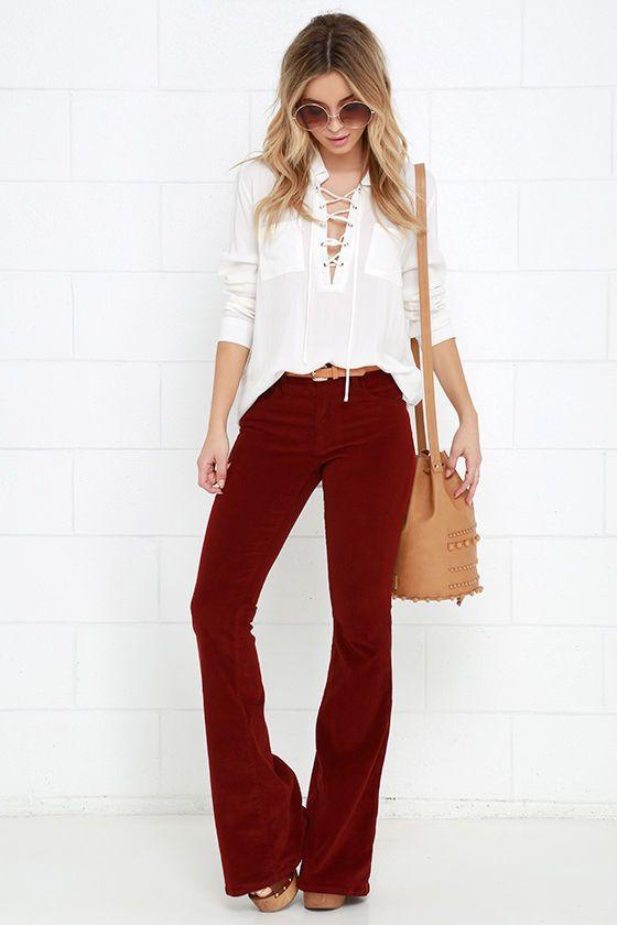 Walking in Memphis Wine Red Corduroy Flare Pants at Lulus.com!