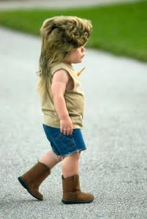 OMG! Is it bad that if ryder would keep this wig on I would probably make him Joe Dirt for Halloween?!?! lololol