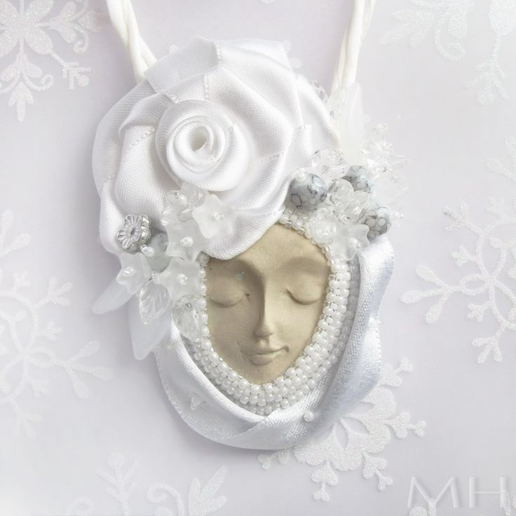 … necklace with face. Bead embroidery, beadweaving, satin, beadembroidery