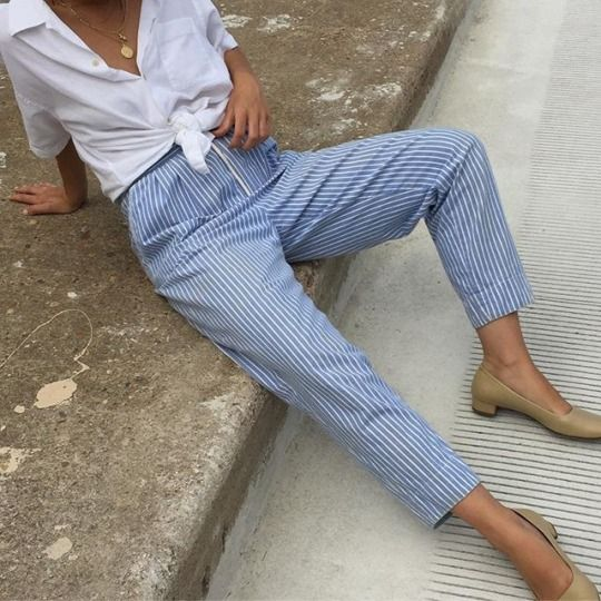 striped trousers white front knot shirt
