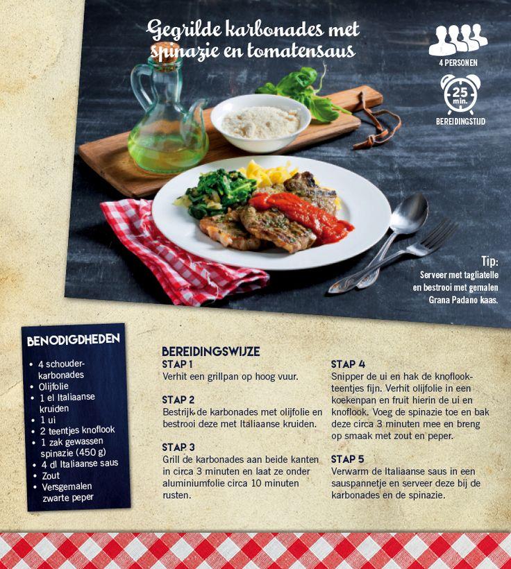 Gegrilde karbonades met spinazie en tomatensaus - Lidl Nederland