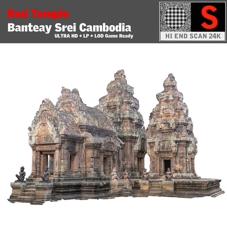 3d model red temple ultra hd