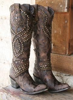 cowboy boots studs boho
