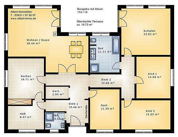 Bungalow 174 19 Mit Atrium Einfamilienhaus Neubau