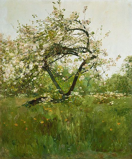 Childe Hassam (American, 1859–1935). Peach Blossoms—Villiers-le-Bel, ca. 1887–89. The Metropolitan Museum of Art, New York. Gift of Mrs. J. Augustus Barnard, 1979 (1979.490.9) | In the three summers from 1887 through 1889, when Hassam was studying art in Paris, he and his wife visited Villiers-le-Bel, about ten miles northeast of the capital in the Oise valley near Écouen.