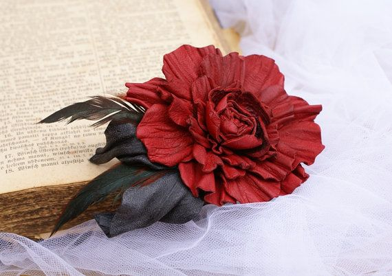 Leather Flower Brooch Leather Roses Brooch Red Rose