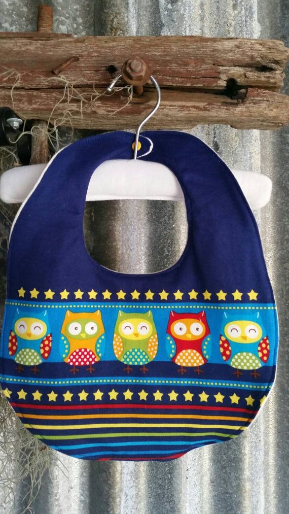 Gorgeous deluxe blue night owl print baby toddler bib - luxuriously soft and very absorbent - cotton and bamboo