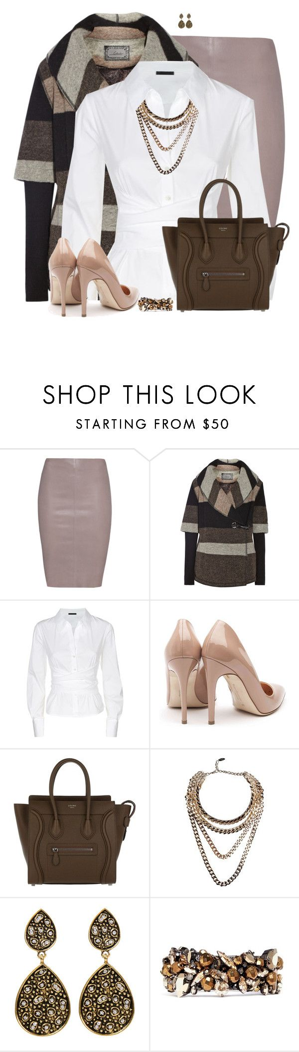 """Leather Pencil Skirt"" by daiscat ❤ liked on Polyvore featuring Jitrois, Line, Donna Karan, Rupert Sanderson, CÉLINE, Giuseppe Zanotti, Amrita Singh and Erickson Beamon"