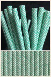 Mint Green Patterned Paper Straws x25
