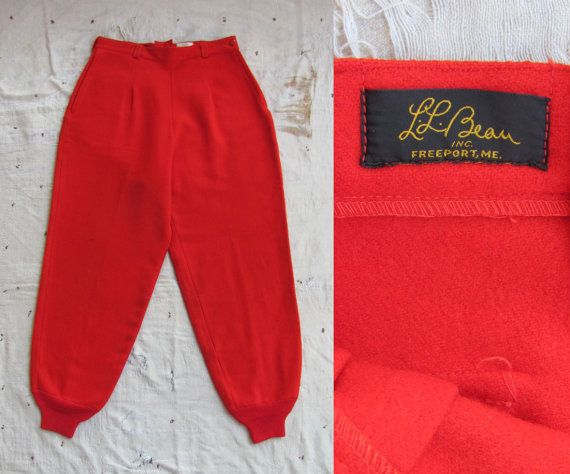vintage c. 1950s LL Bean red wool hunting pants by MouseTrapVintage, $124.00