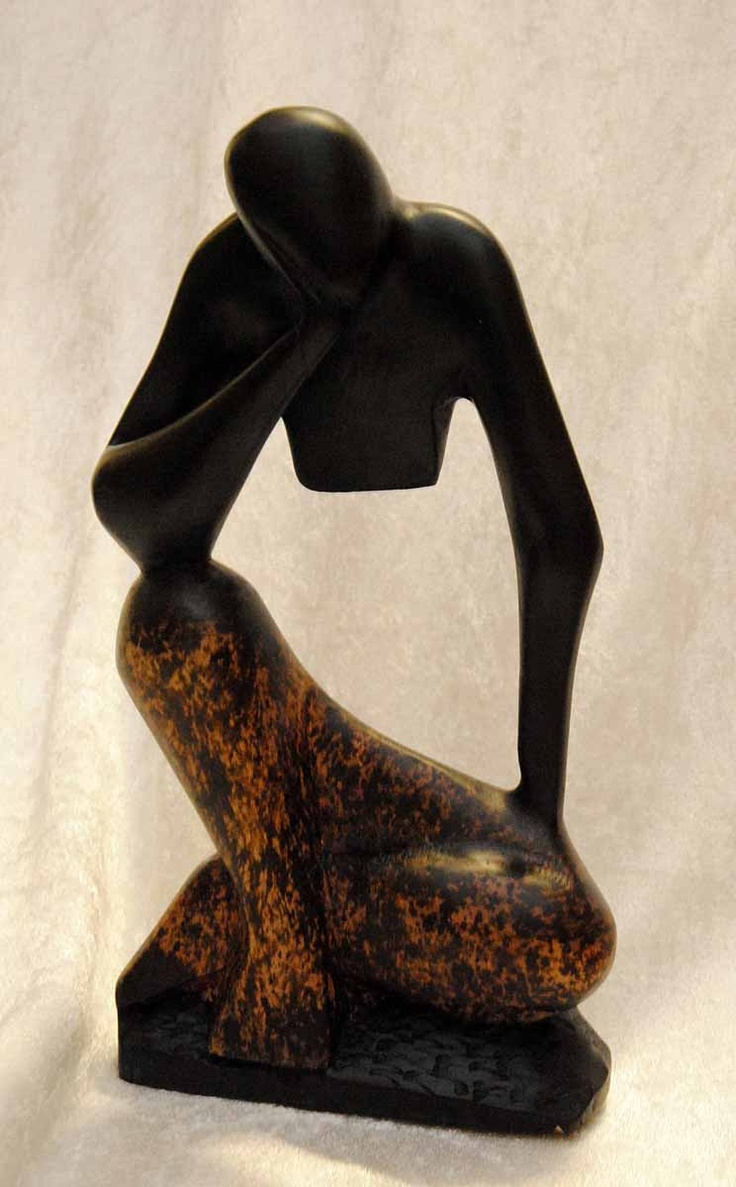 Finely carved figure created by artisans of Ghana. http://afrimood.com/products/home-decoration/thinker-black-brown.html#.UI7FIYVJPJw