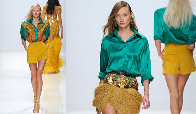 Lo stilista russo, ci inebria di colori forti e decisi, dedito a proiettarci alla stagione estiva. Verde-acqua, blu elettrico e giallo, su una donna sexy.
