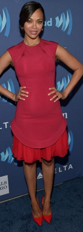 Who made  Zoe Saldana's red pleated dress, pumps, and jewelry?