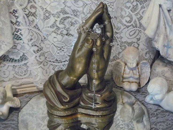 Beautiful big antique vtg ceramic praying hands statue 6 lbs! unique lovely