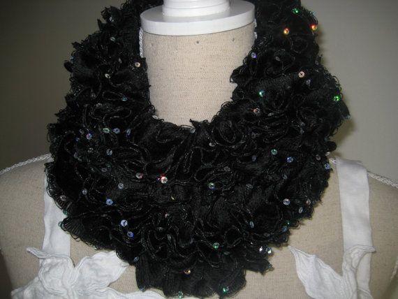 Ruffle Scarf Crocheted  Black Paillette Acrylic by MinnieCreation, €20.74