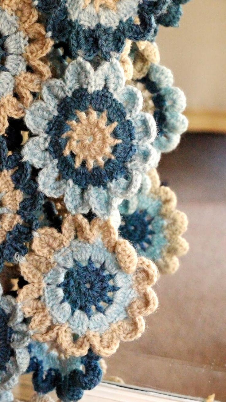 Porcupine Design - crochet Japanese flower scarf shawl