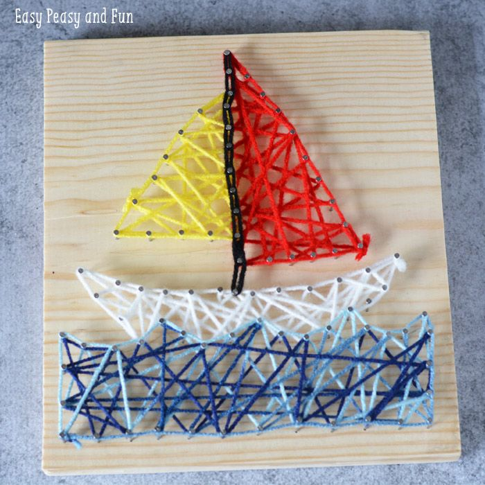 String Art Sailboat Craft for Kids and Beginners