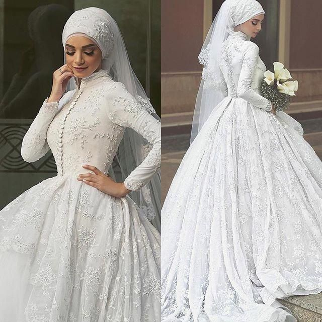 Muslim Wedding Dresses With Long Sleeves Lace Beaded Ball